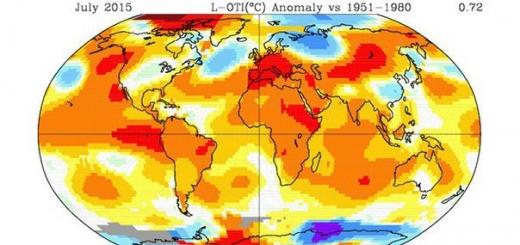 Июль 2015 года стал самым жарким месяцем за всю историю наблюдений